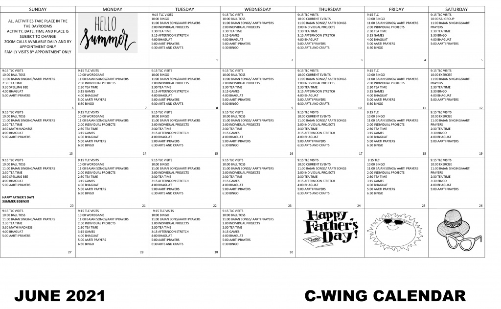 Arnold Walter C-Wing JUNE Event Calendar 2021