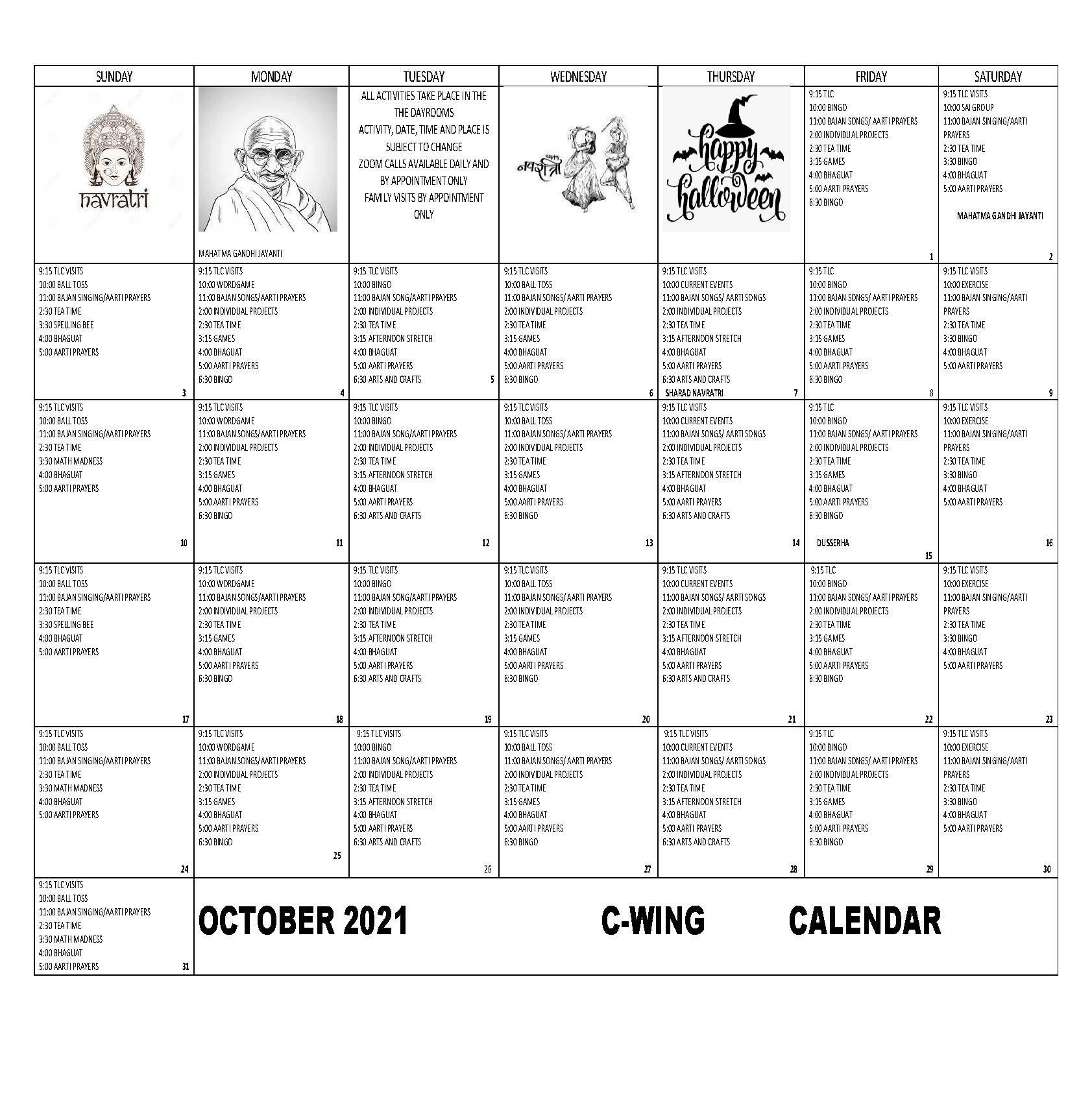 Arnold Walter C-Wing October 2021 Event Calendar